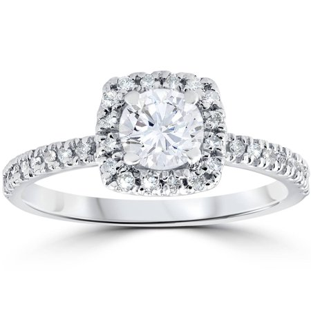 1/2 cttw Diamond Cushion Halo Solitaire Round Cut Engagement Ring 10K White (Cushion Cut Halo Diamond Engagement Ring In Platinum)