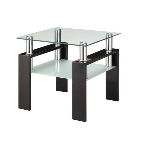 Coaster 2 Piece Glass Top Coffee Table and End Table Set in Black - image 3 of 5