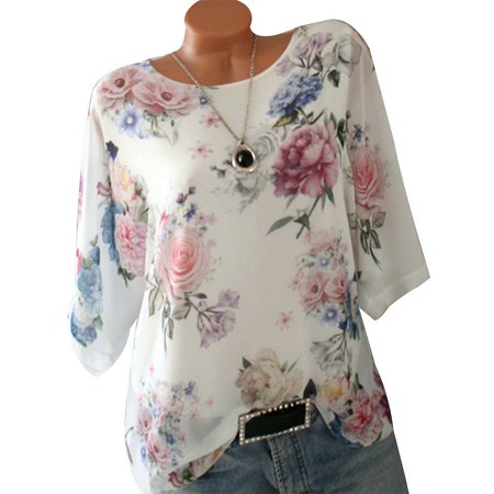 Plus Size Womens Summer Casual Retro Floral Printed T Shirts Round Collar Half Sleeve Tunic Blouse Top