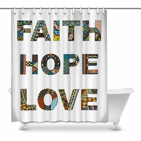 MKHERT Christian Bible Faith Hope Love Zentangle Tribal Design Waterproof Shower Curtain Decor Fabric Bathroom Set