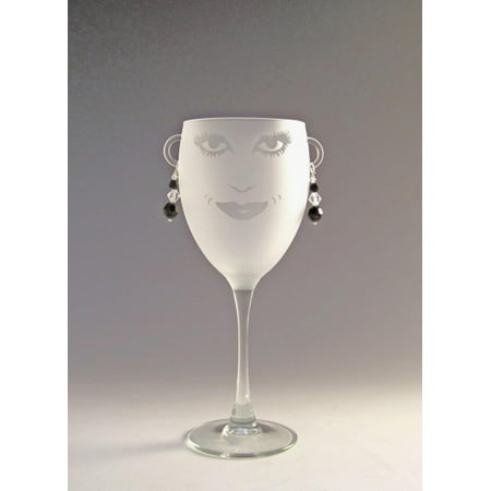 Set of 4 Lola Etched Wine Drinking Glasses with Jet Black Earrings 10.5 ounces