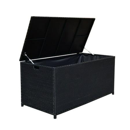Style 3 BLACK 64'' x 30'' x 30'' Large Wicker Storage Box Chest Deck Poolside Storing Patio - Black Deck Box