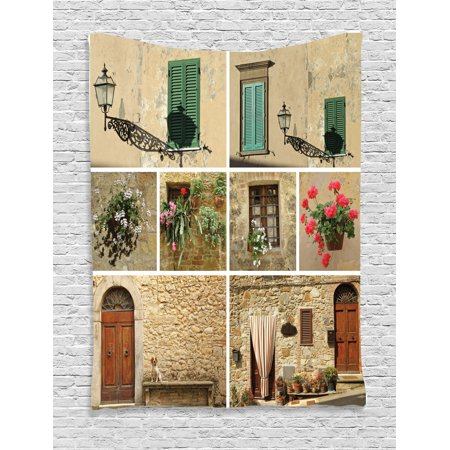Tuscan Decor Wall Hanging Tapestry, Various Pictures Of Italian Lifestyle With Old Classic Shutter Window And Stone Houses Print, Bedroom Living Room Dorm Accessories, By Ambesonne ()