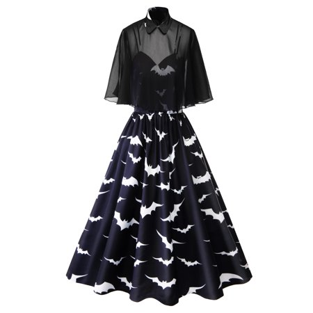 Women's Plus Size Rockabilly Vintage Swing Work Evening Dress 40s 50s Retro Emo Pin Up Cloak Bat Print Gothic Party Cocktail (Gothic Masquerade Dresses)