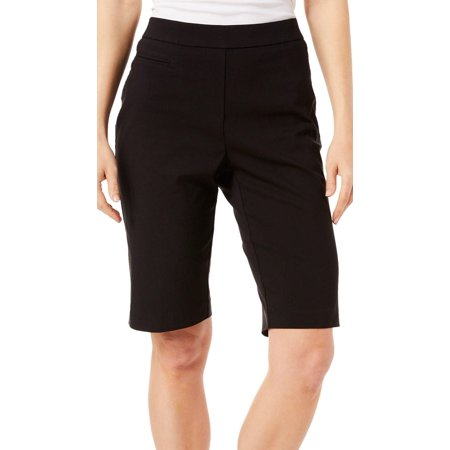 Coral Bay Womens Solid Pull On Bermuda Shorts 18 Black