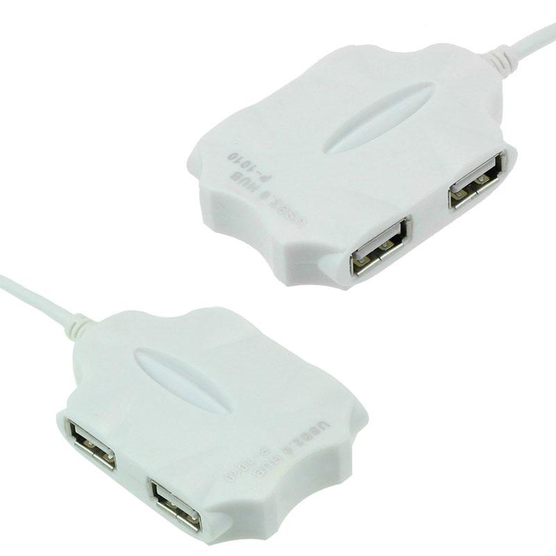 TWO WHITE  High-Speed ROBOT MAN USB 2.0 4-Port Hub Splitter FOR MAC Laptop//PC