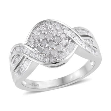 925 Sterling Silver Platinum Plated Diamond Baguette Bridal Anniversary Ring for Women Jewelry Gift Cttw 1 (7/8/9)