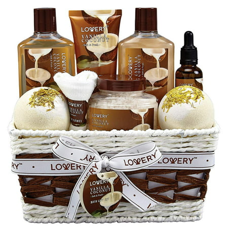 Gift Baskets Canada Spa - Bath and Body Gift Basket For Women – 9 Piece Set of Vanilla Coconut Home Spa Set, Includes Fragrant Lotions, Extra Large Bath Bombs, Coconut Oil, Luxurious Bath Towel and More