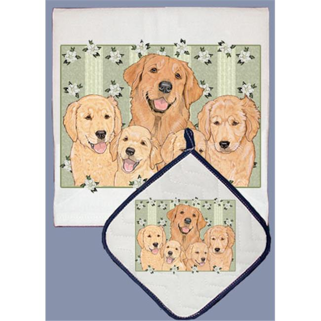 Pipsqueak Productions DP496 Dish Towel and Pot Holder Set - Golden Retriever