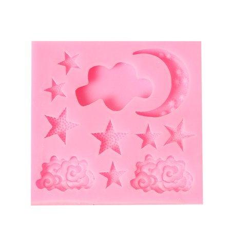 1 Pcs Cake Molds Moon Stars Clouds Silicone Mold for Fondant Decorating Chocolate Cookie Soap Mould Baking Pastry Tools Random -