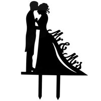 Wedding Engagement Acrylic Bride and Groom Cupcake Cake Topper Ornament Black