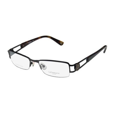 1e8132903f4 New Liz Claiborne 351 Womens Ladies Designer Half-Rim Black Stainless Steel  Brand Name Frame Demo Lenses 51-18-135 Eyeglasses Glasses - Walmart.com