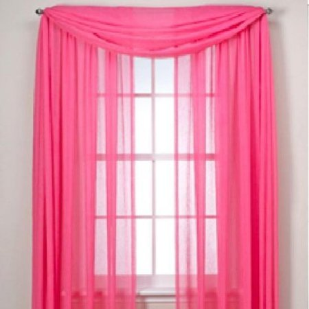 Monagifts Hot Pink Scarf Voile Window Panel Solid Sheer Valance Curtains 216 Long