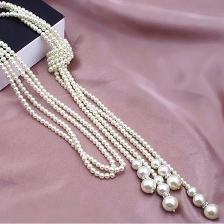 ON SALE - Long Knotted Pearl Bead Tassel Necklace Ivory Necklace