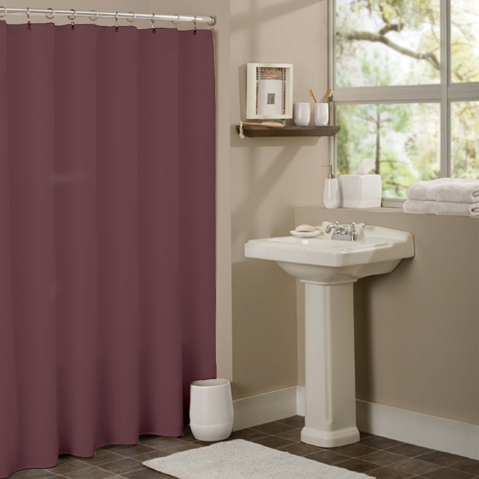 Sweet Home Collection Anti Mildew Vinyl Shower Curtain Liner With Metal Grommets