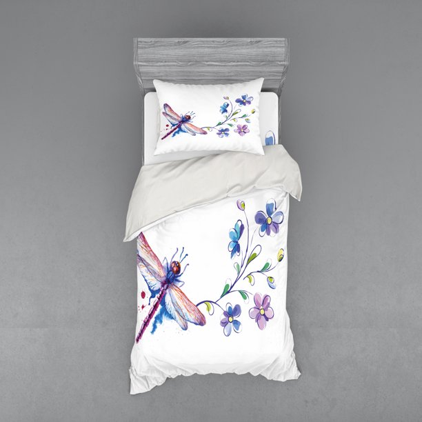 Dragonfly Duvet Cover Set Watercolor Bug Butterfly Like Moth Branch Ivy Flowers Lilies Art Bedding Set With Shams And Fitted Sheet 3 Sizes By Ambesonne Walmart Com Walmart Com