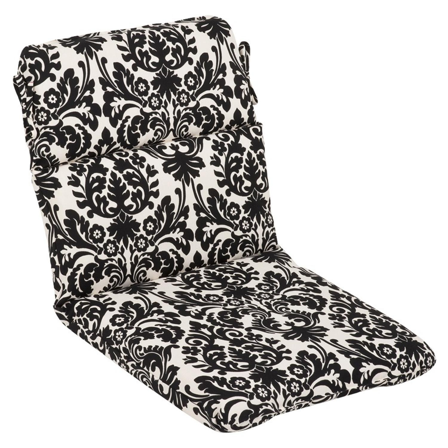 Outdoor Patio Furniture High Back Chair Cushion - Dramatic Black & Cream Damask
