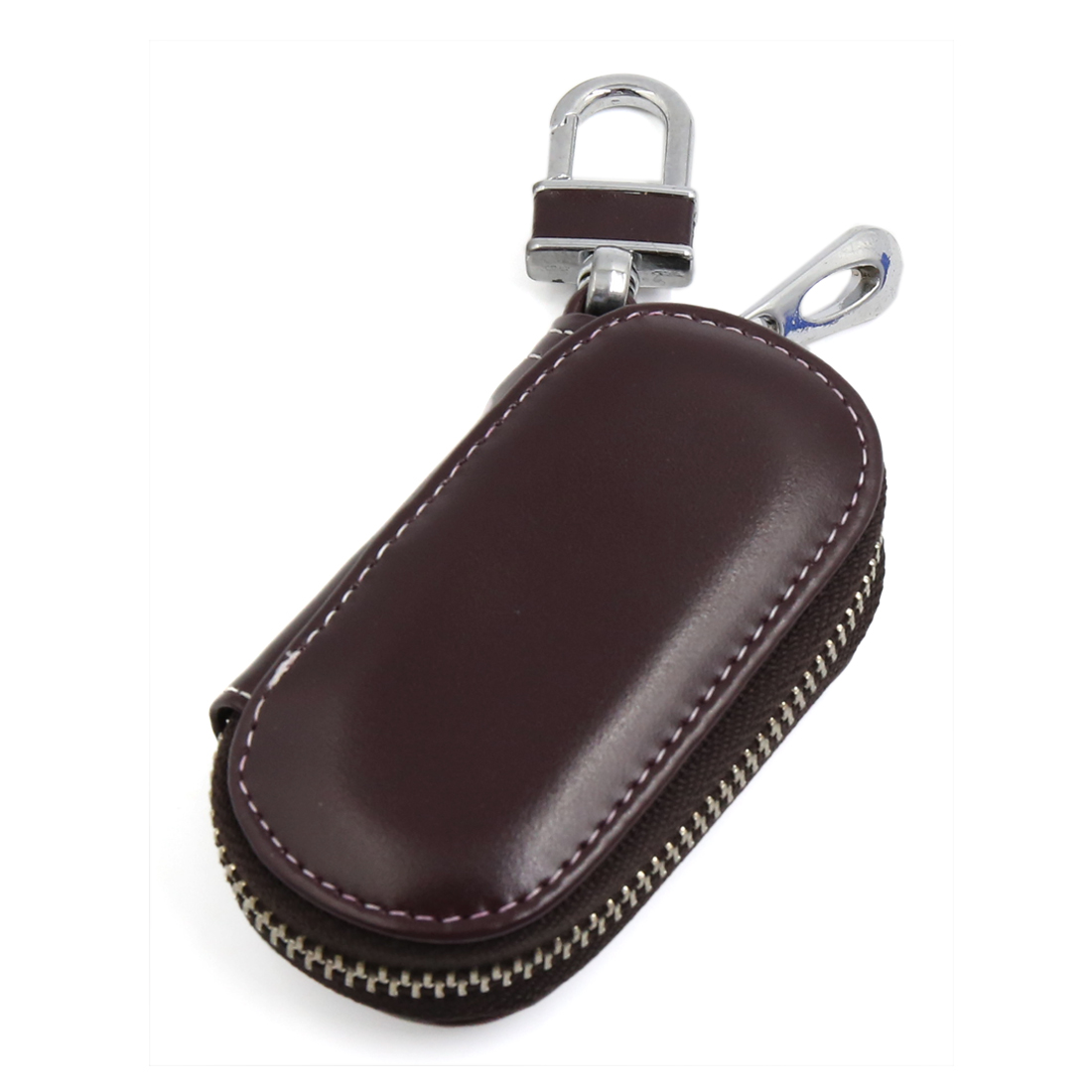 Dark Brown Faux Leather Oval Shaped Auto Car Remote Key Chain Cover Purse Case