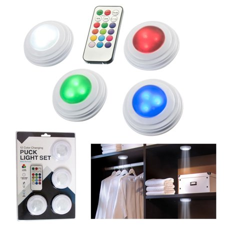 4 Pk Puck Lights 12 Color Changing Set Under Cabinet Lighting Kit Remote Control