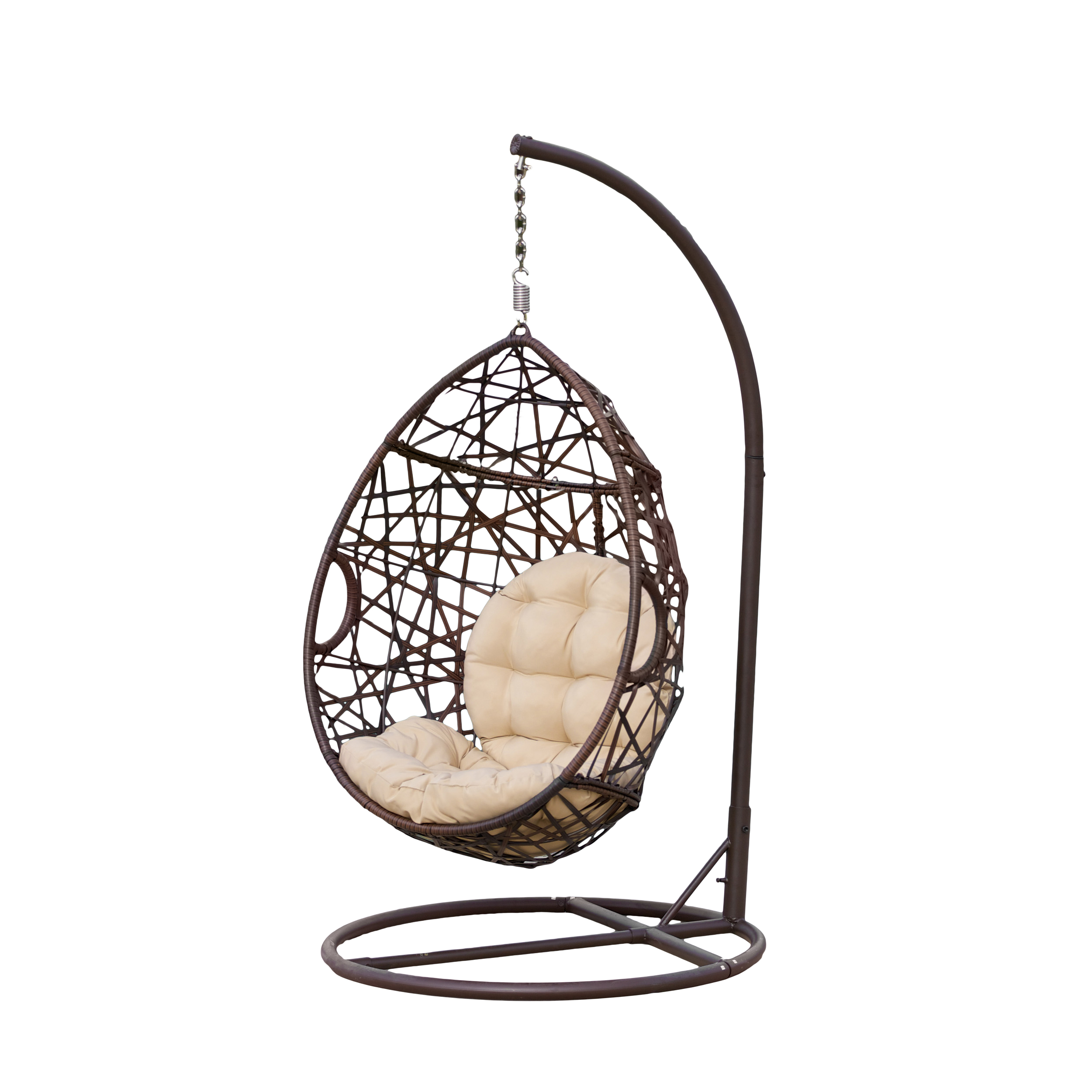 Somoza Outdoor Brown Wicker Tear Drop Basket Chair