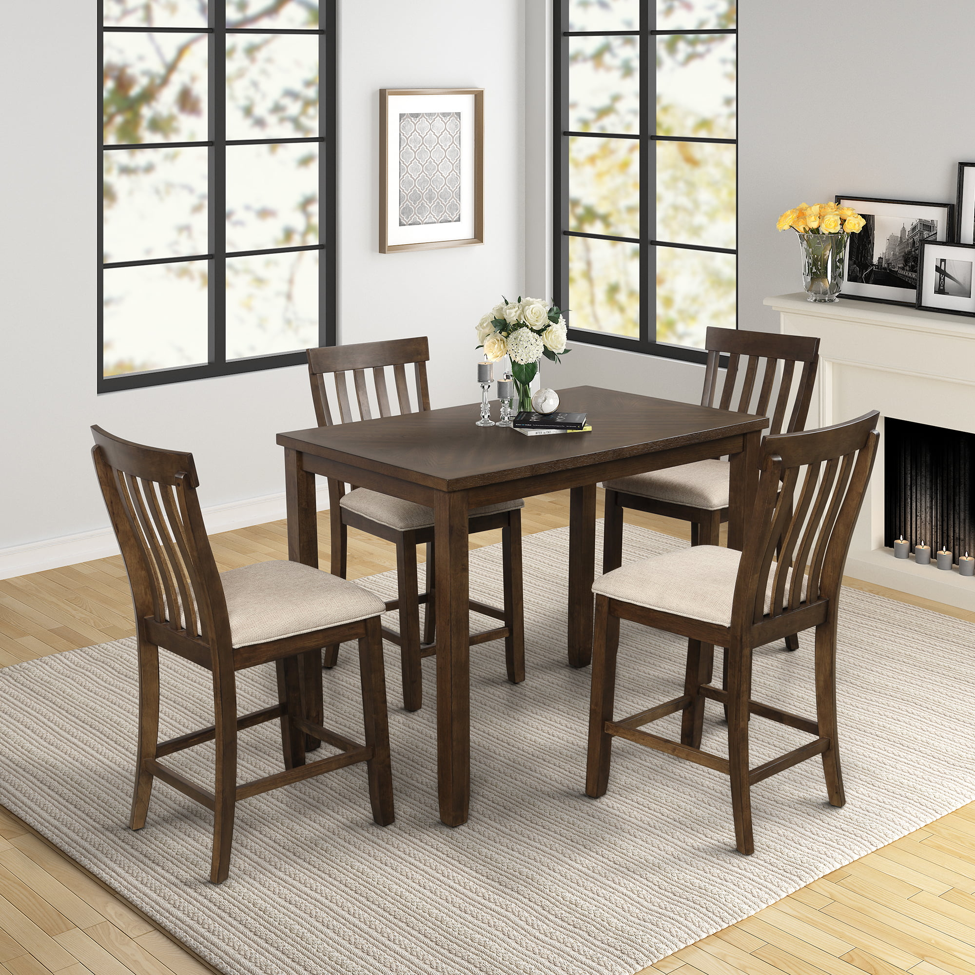 Dining Table Set with 4 Chairs, 5 Piece Wooden Kitchen ...