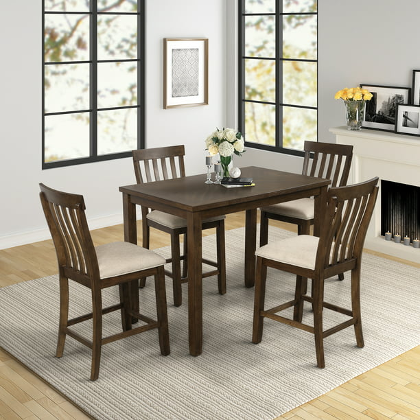 dining table set with 4 chairs 5piece wooden kitchen