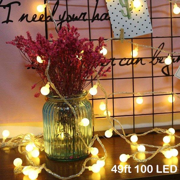 led string lights 49ft 100led ball string lights indoor