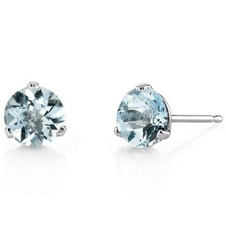 Oravo 14k White Gold Martini Style Round-cut Gemstone Stud Earrings Green Amethyst