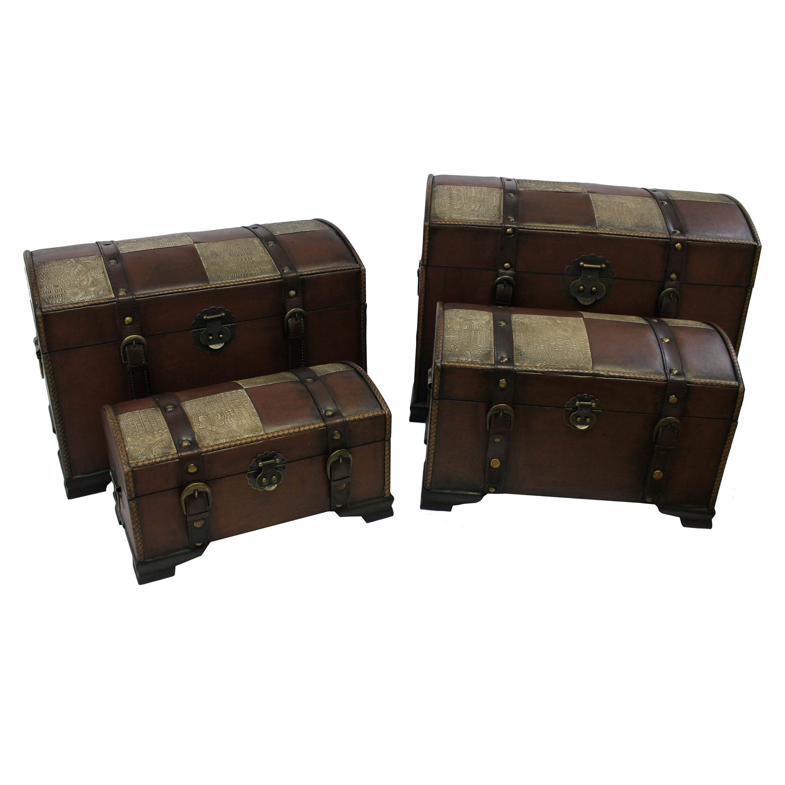 International Caravan Old World Replica Set of 4 Trunks-Mixed Pattern