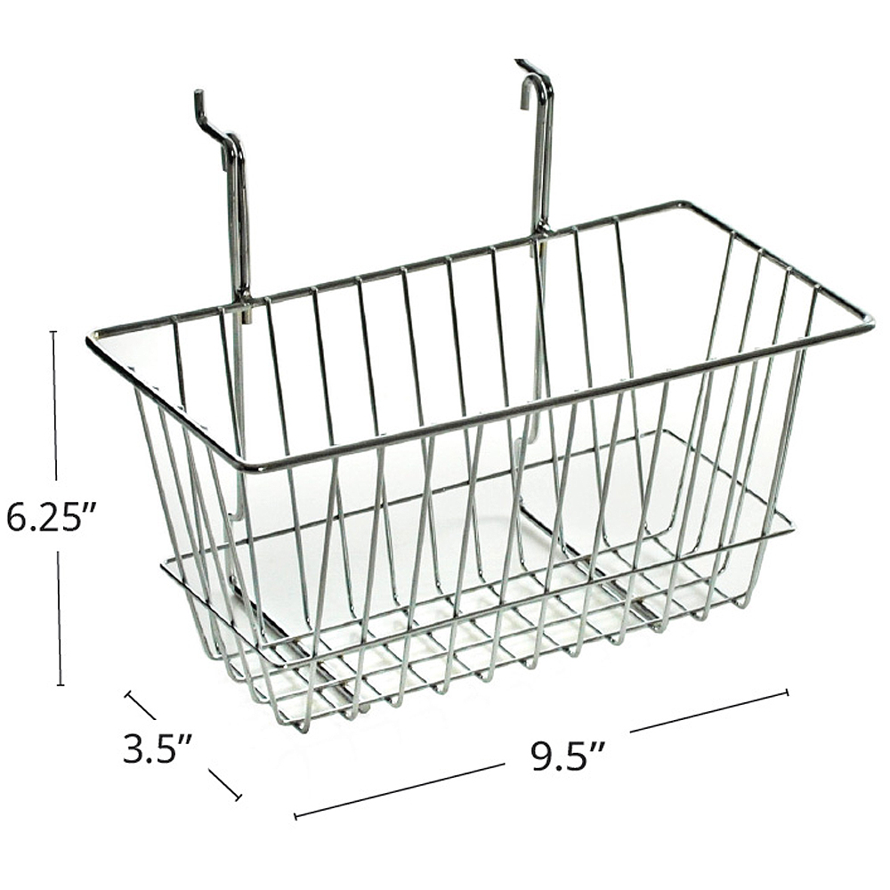 "Azar 300620 6.25""H Chrome Wire Basket, 2Pack"