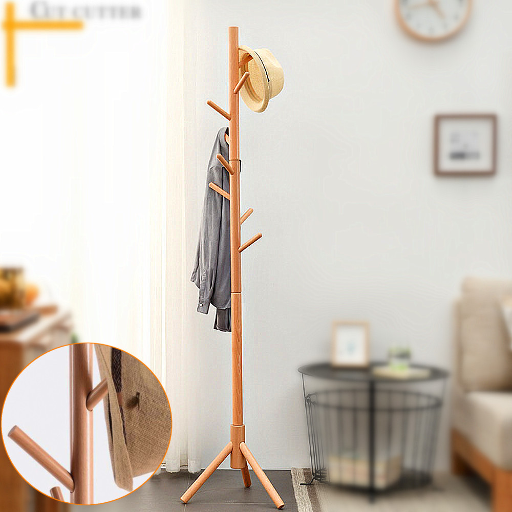 Walnut-Brown Wooden Coat Rack Stand 8 Hooks Hat Sweater Jacket Hanging Stand Easy Assembly Wood Rack Tree for Home Office Entryway bedroom