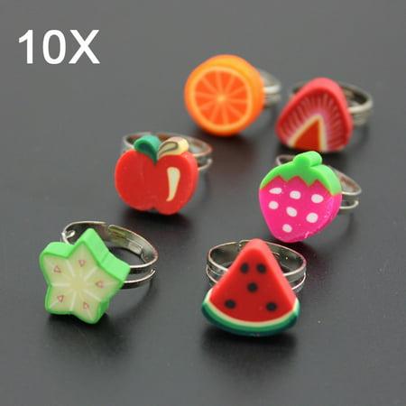 Childs Flower Ring - LANBOWO Day haansoft ceramic ring Flower ring size adjustable fruit ls children cartoon ring 水果款