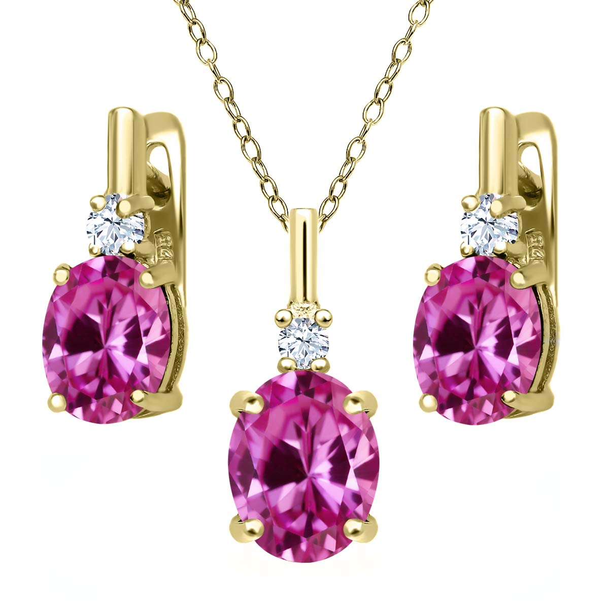 7.25 Ct Pink Created Sapphire White Created Sapphire 18K Yellow Gold Plated Silver Pendant Earrings Set