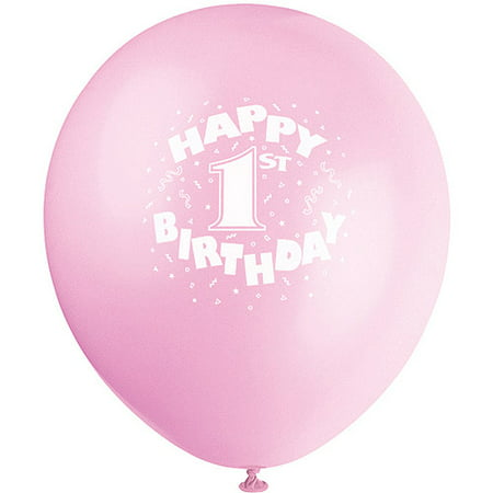 12 Pink Happy 1st Birthday Latex Balloons 6ct