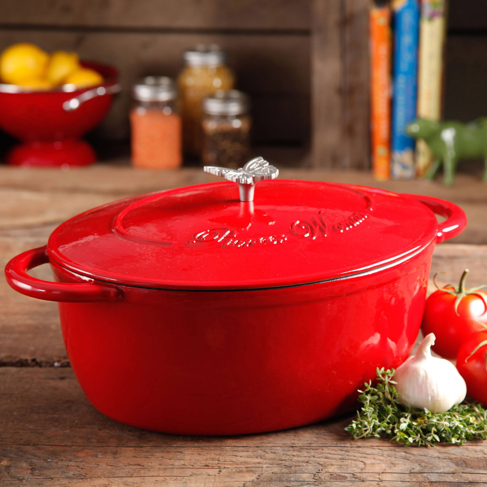 Pioneer Woman Cast Iron 7 Qt. Dutch Oven with Butterfly Knob, Red ...