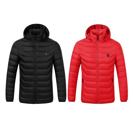 Electric Heated Jacket USB Charging Heating Clothing Warm Hooded Jackets for Winter...