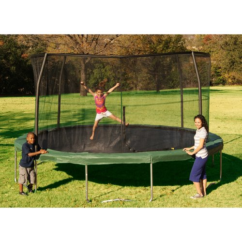 Orbounder 14-Foot Trampoline, with Safety Enclosure, Green