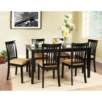 Homelegance Weston Home Tibalt 7 Piece Rectangle Black Dining Table Set - 60 in. with 6 Mission Back Chairs