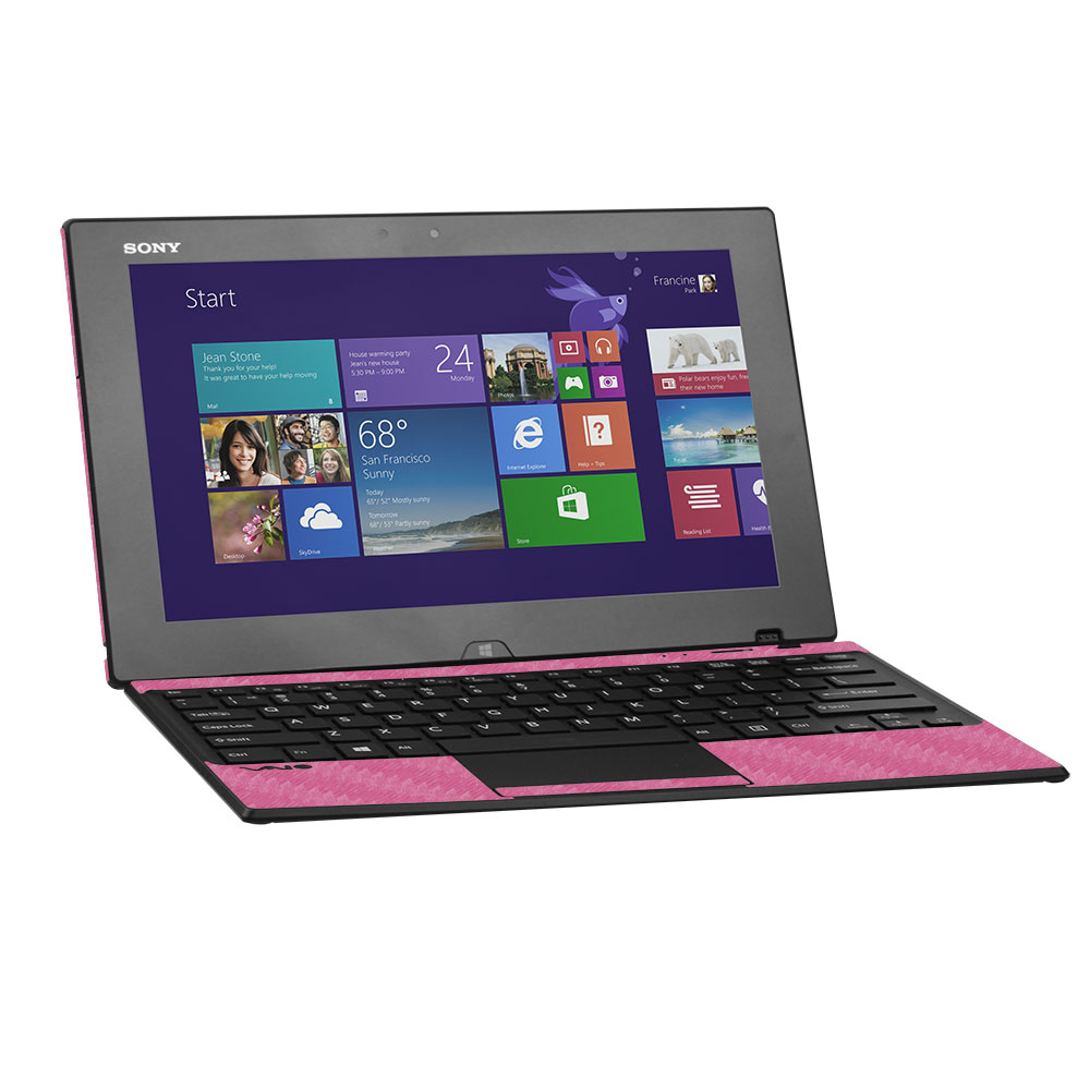 Skinomi Carbon Fiber Pink Skin for Sony Vaio Tap 11 Keyboard+Tablet SVT11213CXB