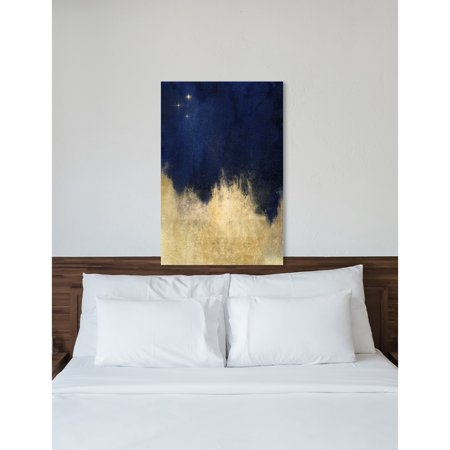 Oliver Gal  Stars at Midnight Abstract Gallery Wrapped Canvas Art - gold, navy blue ()