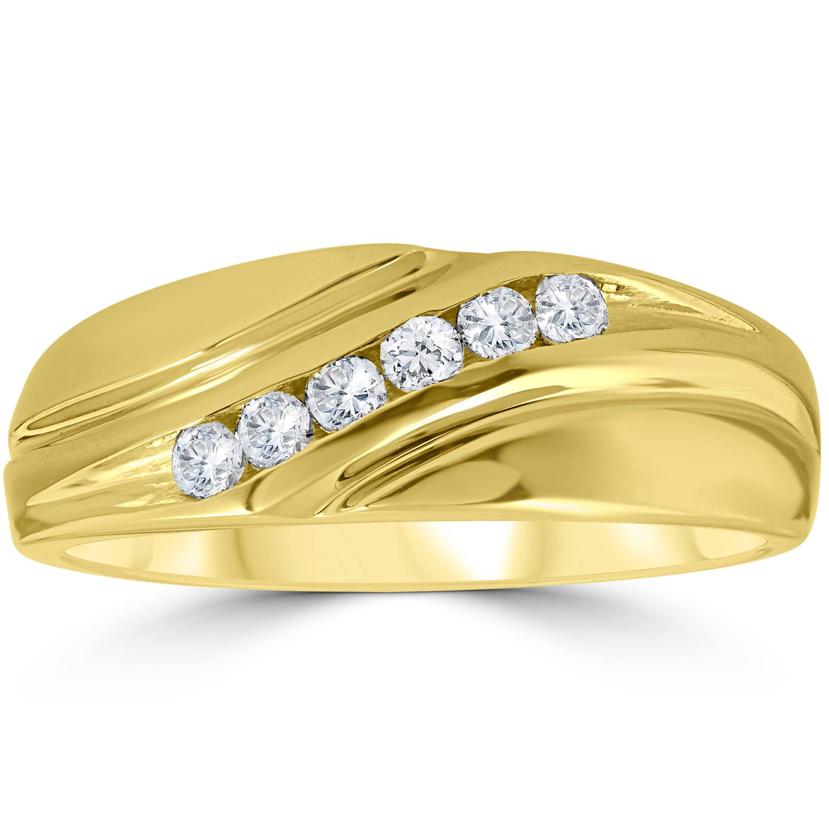 Mens 14K Yellow Gold 1/4ct Diamond Wedding Ring Band