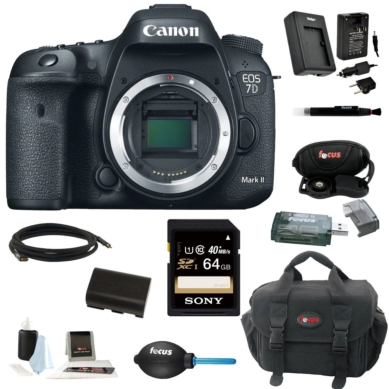 Canon EOS 7D Mark II Digital SLR Camera (Body Only) with 64GB Deluxe Accessory Kit by Canon