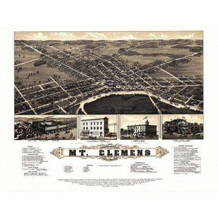 Antique Map of Mt Clemens Michigan 1881 Macomb County Stretched Canvas -  (24 x 36)