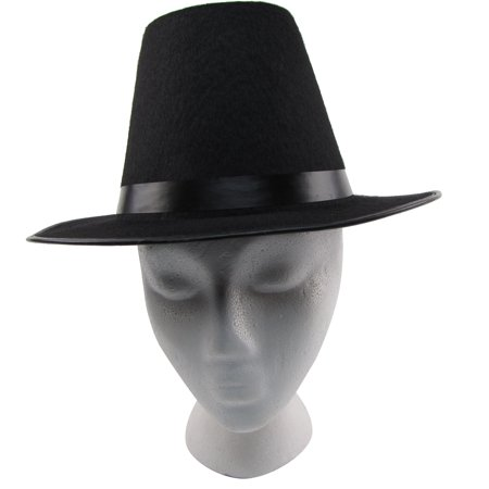 Colonial Pilgrim/Puritan Tall Black Wide Brim Hat Thanksgiving/Halloween Costume - Colonist Clothes