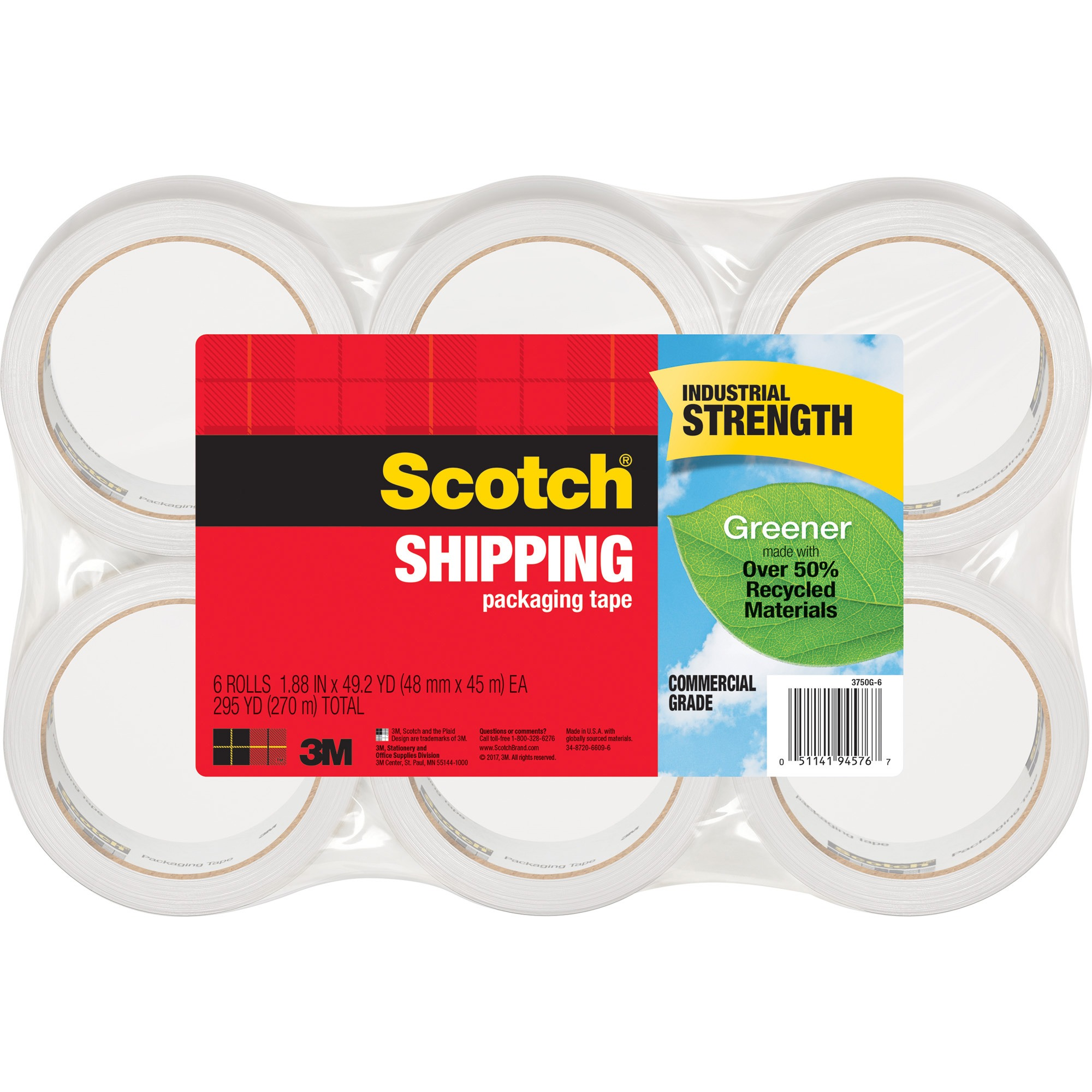 "Scotch Greener Commercial Grade Shipping Packaging Tape, 1.88"" x 54.60 yds, Clear, 6 / Pack (Quantity)"