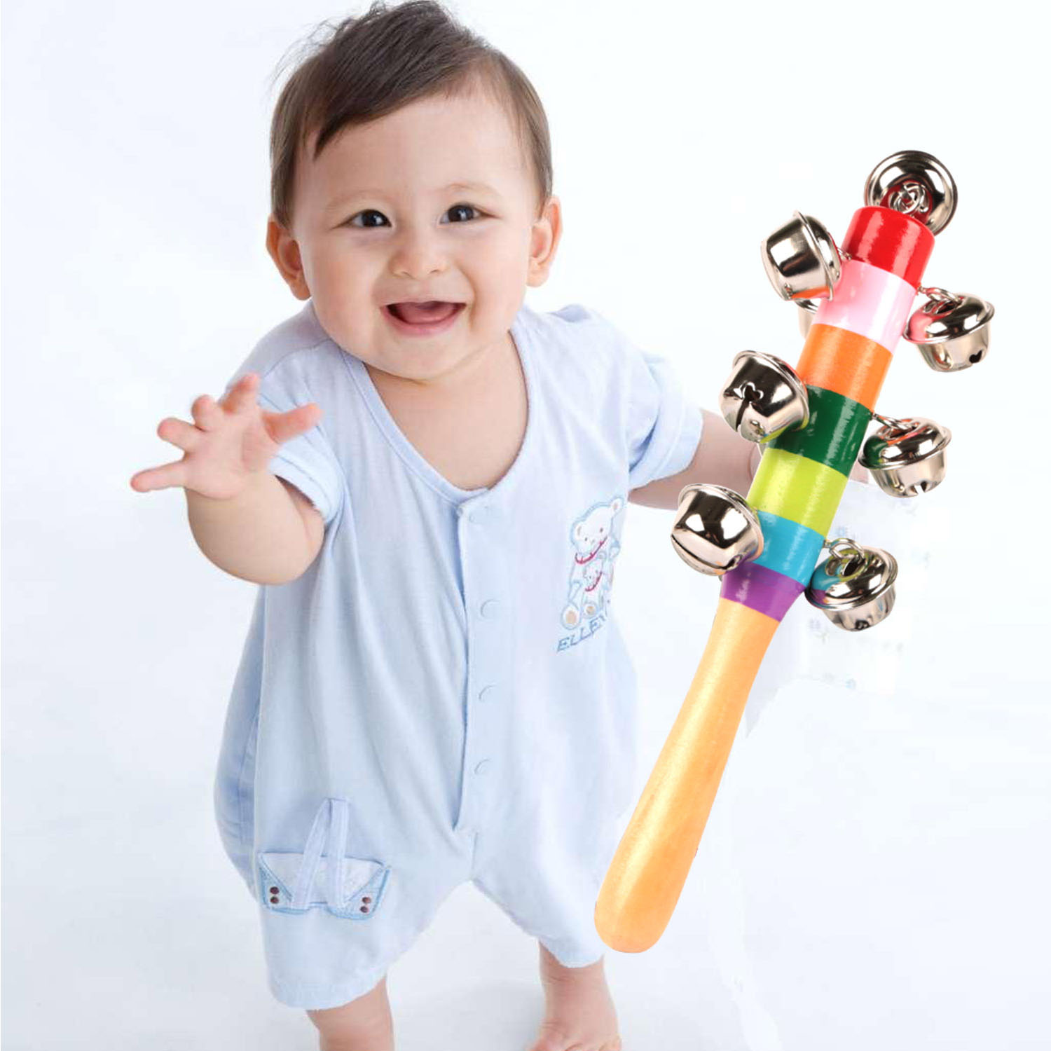 GPCT [Rainbow Colored] Handheld Wooden Jingle Bell Shaker Rattle