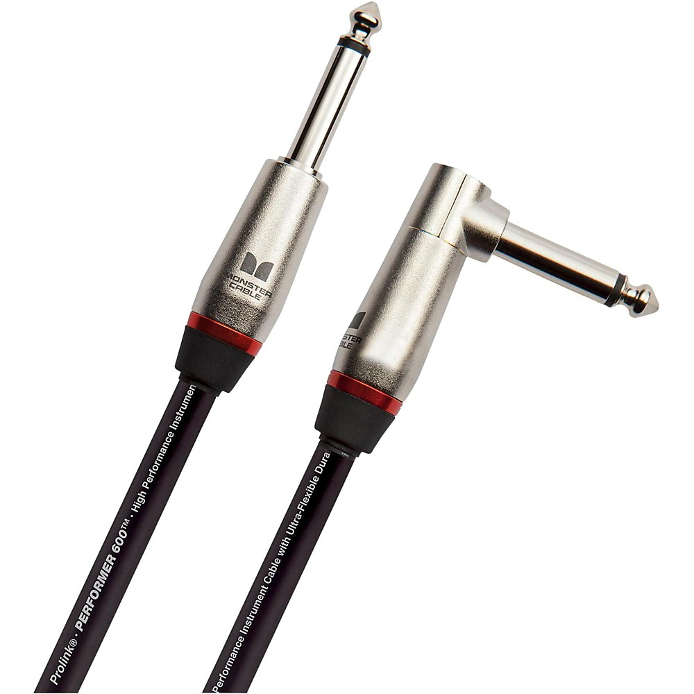 """Monster Cable Performer 600 1/4"""" Angled to Straight Instrument Cable 18 in."""