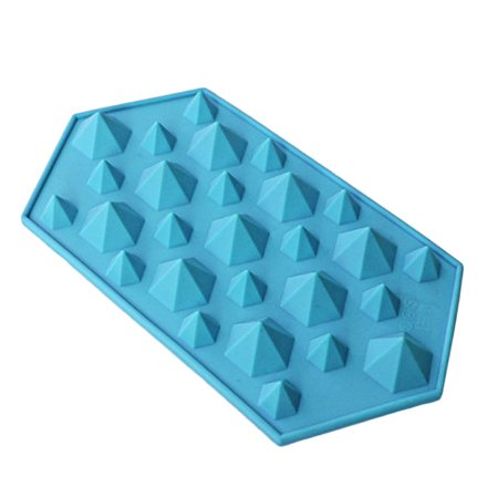Diamond Mold Ice Cube Tray 27 Cavities Crystal Silicone Ice Mold Candy BU - Green Ice Cubes