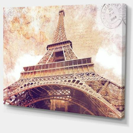 Design Art Paris Eiffel Tower Paris Postcard Design Cityscape Photographic Print on Wrapped Canvas (Postal Basics)