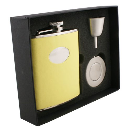 Visol Products Leather Stainless Steel Stellar Flask Gift Set